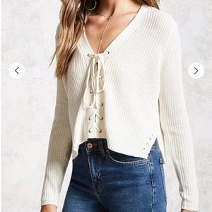 Ivory Lace-Up Ribbed Sweater